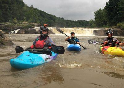 3 paddlers below ohiopyle falls