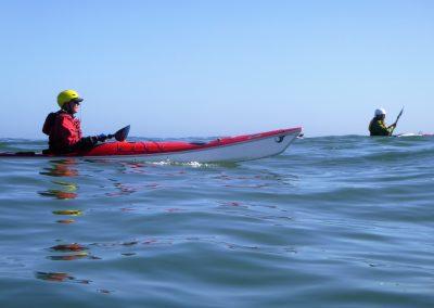 2 kayaks on the open ocean matanzas inlet