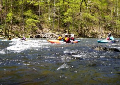 group of kayakers on the pigeon river