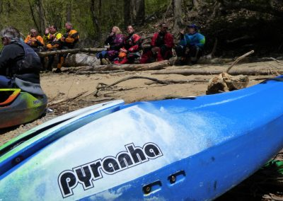 pyranha kayak and lunch break on the pigeon