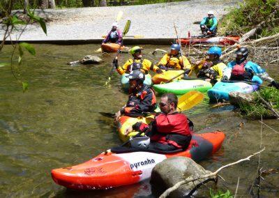 crowd of kayakers natahala river