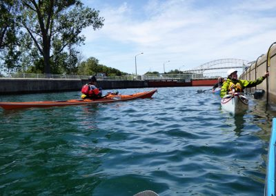 soo locks full of water and kayaks