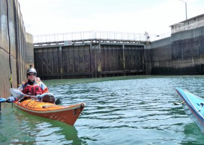 soo locks doors and a kayaker