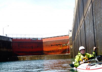 kayaker in the soo locks