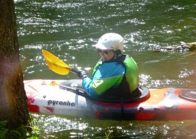 smiling kayaker nantahala river