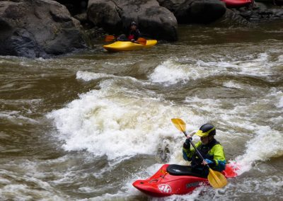 surfing the wave at swimmers rapid